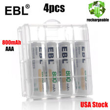 4pcs EBL AAA NI-MH Rechargeable Batteries 800mAh with Box For Flashlights USA