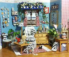 Beach House OOAK Artist Living Room Seashell Dollhouse 1:12 Miniature 52Pc Set