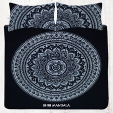 Black and White Hippie Mandala Bedding King Size Bed Sheet Set Pillow Covers