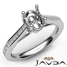 Channel Setting Oval Cut Diamond Engagement Semi Mount Ring 18k White Gold 0.3Ct