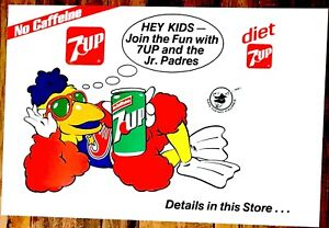 """San Diego Chicken 7up Jr. Padres 22"""" x 15"""" poster 1980s"""
