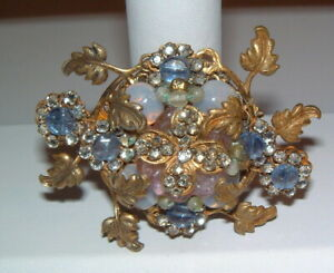 Vintage Signed Miriam Haskell Pearls Sparkly & Color Stones Moonstones?  Pin