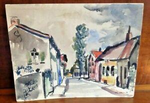 Karl Mattern WPA Era Modernist Iowa Artist Watercolor Germany Town Scene 1913!