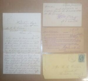 1875 CROCKETT Texas Whites Worried about African Americans Vote Letter +Envelope