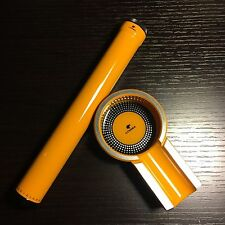 Cohiba Yellow Titanium Cigar Ashtray Holder + Single Cigar Humidor Tube Holder