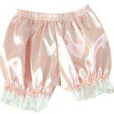 NEW SISSY SLIPPERY SILKY FRILLY LACED PEACH PINK BLOOMER PANTIES SIZE MEDIUM UK