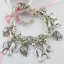 Chunky Chain Good Luck Lucky Elephant Charm Bracelet 20cm