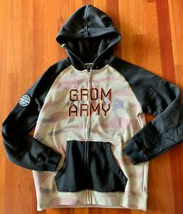 GROM ARMY Boys Black & Camo Full-Zip Hoodie Jacket size Large 10/12 EEUC