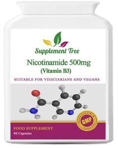 Vitamin B3 Nicotinamide 500mg Capsules (90 or 180 Pack) Flush Free Niacin