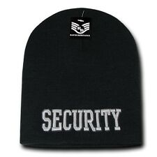 Black Security Guard Officer Embroidered Skull Knit Cap Hat Beanie Beanies