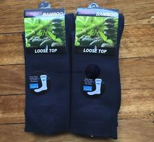 6 Pairs SIZE 6-11 95% Loose Top BAMBOO SOCKS Medical Diabetic Comfort Navy