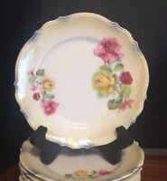 "8 PK Silesia  6 1/4"" Plates ROSES, SCALLOPED, BEADED Rim Tiffany Luster EXCEL."