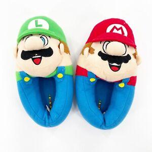 Super Mario Brothers Plush Slippers Mario & Luigi Youth Size 13-1 Unisex