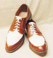 Vtg Nettleton Brown & White Leather Spectator Split Toe Oxford Lace-up Shoes 8A