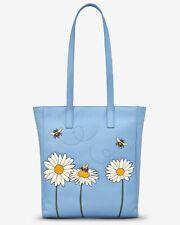 Bee Happy Blue Leather Shopper Bag handmade by yoshi