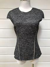 BIANCA SPENDER Grey Wool Blend Short Sleeve Top Sheer Panels - Size 6 (fits 8)