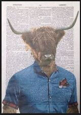 Highland Cattle Print Vintage Dictionary Wall Art Picture Cow Red Tartan Hipster