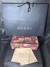 "GUCCI Empty Floral box 12.5 x 5.5 x 4.25"" W/ A Dust Bag &  Shopping Bag."