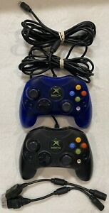 Original Xbox Controllers Wired Lot of 2 Genuine Official OEM - Black & Blue