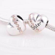 SISTER w PINK CRYSTAL PUFFY HEART .925 Sterling Silver European Charm Bead