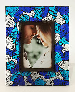 """GLASS MOSAIC PICTURE FRAME GLASS ART SEE-THROUGH DESIGN HOLDS 6 X 4"""" PICTURE"""