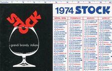 CALENDARIETTO,D'EPOCA 1974 PLASTIFICATO,STOCK BRANDY,PINO TOVAGLIA ART DESIGNER