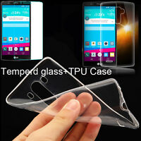 9H Premium Tempered Glass Screen Protector+Clear  Silicone TPU Case For LG Phone