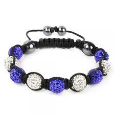 Shamballa Armband Kugel Perlen Kristall Naturstein Glitzer Blau - Weiß