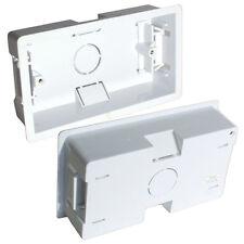 5x 35mm Deep Twin Plastic Dry Lining Back Box - 1 Gang Wall Flush Mount Pattress