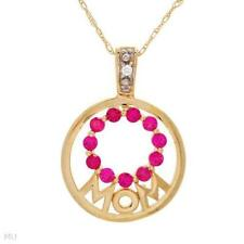 STUNNING SOLID 10K YELLOW GOLD RUBY CIRCLE 'MOM' NECKLACE