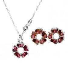 Jewelry Set Necklace & Earrings W/Genuine Crystal in 925 Sterling silver.