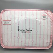 3pc Nicole Miller TWIN Sheet Set Pink Hearts Stripe Girls Love 100% Cotton NEW