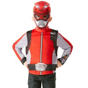 RED BEAST MORPHERS Top + Mask Kids POWER RANGERS Fancy Dress Superhero Outfit