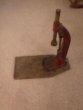 Antique Red Cast Iron Vintage Beer Bottle Capper Wood Handle & Caps, Works, USA