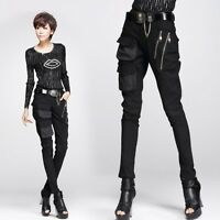 New Women's Casual Skinny Slim Gothic Punk Harem Pants Hip Hop Rock Zip Trousers
