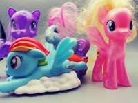 Mixed Lot of 4 Pony Figure Toys. 3 My Little Pony and 1 unbranded.