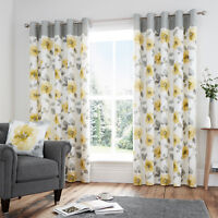 ADRIANNA Floral Print Cotton Rich Lined Ready Made Eyelet/Ring Top Curtains Pair