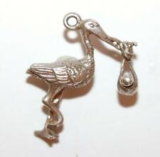 Bracelet Charm With Gift Box 3.1g Stork Carrying Baby Sterling Silver Vintage