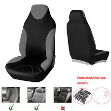 2 Pcs Car High Back Bucket Seat Cover Set Washable Polyester Fabric Gray+Black