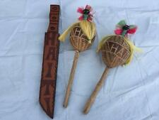 Lot 2 Vintage Haiti Hand Carved Gourd Shaker Maracas & Wooden Carved Knife