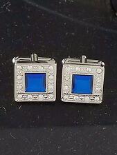 Silver and Blue Crystal FASHION Cuff Links