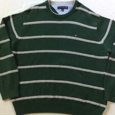 Tommy Hilfiger Green Gray Striped LS Crew Neck Pull Over Cotton Sweater Mens XXL