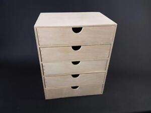 1 x Plain Wooden Cupboard Chest Shelf With Drawers Storage A4 Unit (PD45)