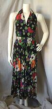 VINTAGE 70's Era 3-Pc. Black Floral Print Halter Maxi Dress w/ Blouse Sz. 8