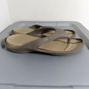 Crocs Men's Size 12 Brown Slides Lightweight Comfort Walking Thong Sandals