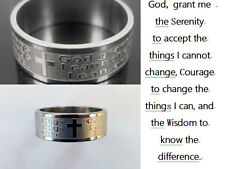 36PCS Serenity Prayer Stainless Steel Silver Band Ring Cross Lots jewelry