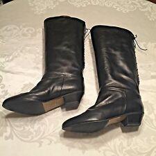 Vtg Sudini Black Riding Boots Tall Equestrian Rear Lace Italy Black Size 8.5 W