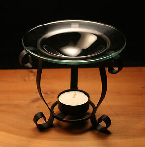 Oil burner curved scroll black metal glass gift present tea light candle and Oil