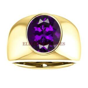 Gold Plated 925 Sterling Silver Natural Amethyst Gemstone Ring for Men EG12