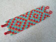 gold red turquoise checker pattern design hand beaded bracelet mayan fair trade